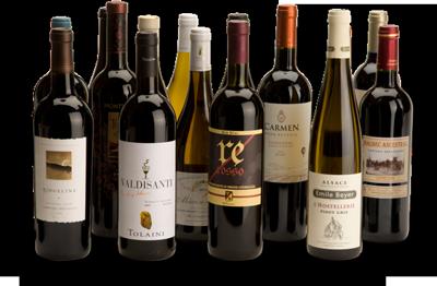 group of wine bottles